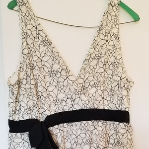 WHBM fancy tank top Size Large off white and black